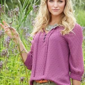 Matilda Jane Purple Texture Swiss Dot Peasant Top